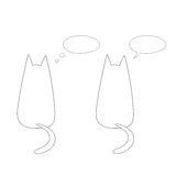 Cats with speech bubbles. Hand drawn vector illustration with simple outlines of two cats from behind with empty speech bubbles. Unfilled outline on white vector illustration
