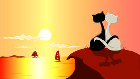 Cats and sunset. Illustration of two cats in love facing the sunset at the beach vector illustration