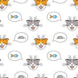 Cats talk about mice and fishes seamless pattern. Royalty Free Stock Images