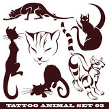 Cats for tattoo. Vector set: templates cats for tattoo and design on different topics Stock Photos