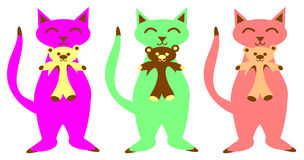 Cats and Teddy Bears. Three Colorful cats, hold their teddy bears Royalty Free Stock Image
