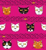 Cats think about fish. In white, gray, red, pink, yellow, black a seamless pattern on a purple background Stock Photo