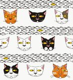 Cats think about fish. In white, gray, red, pink, yellow, black a seamless pattern on a white background Royalty Free Stock Photos