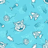 Cats toys cartoon seamless pattern with kittens for kids. Royalty Free Stock Image