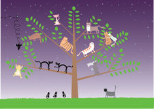 Cats on the tree. The group of cats and crows sit, shout, love, fight on the big tree. Hand work Stock Photo