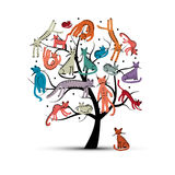 Cats tree, childish style. Sketch for your design Royalty Free Stock Photos