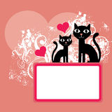 Cats Valentine background Royalty Free Stock Photo