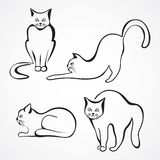 Cats vector collection. Collection of various cat silhouettes. Sitting cat, lying cat, stretching cat and one cat with round back Vector Illustration