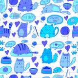 Cats vector Domestic cute kawaii kittens Japanese kawaii style Cartoon cats playing Illustratrion for pet shop. Cats vector Domestic cute kawaii kittens Japanese Stock Images