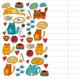 Cats vector Domestic cute kawaii kittens Japanese kawaii style Cartoon cats playing Illustratrion for pet shop. Cats vector Domestic cute kawaii kittens Japanese Royalty Free Stock Photo