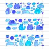 Cats vector Domestic cute kawaii kittens Japanese kawaii style Cartoon cats playing Illustratrion for pet shop. Cats vector Domestic cute kawaii kittens Japanese Stock Image