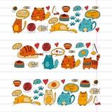 Cats vector Domestic cute kawaii kittens Japanese kawaii style. Cartoon cat playing Illustratrion for pet shop, veterinary, cattery, wallpaper, kindergarten Royalty Free Stock Photos