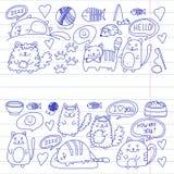 Cats vector Domestic cute kawaii kittens Japanese kawaii style. Cats vector Domestic cute kawaii kittens Japanese kawaii style Cartoon cat playing Stock Photography