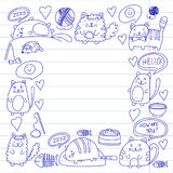 Cats vector Domestic cute kawaii kittens Japanese kawaii style Cartoon cats playing Illustratrion for pet shop. Cats vector Domestic cute kawaii kittens Japanese Stock Photography