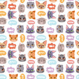 Cats vector heads illustration seamless pattern. Cats heads vector illustration. Cute animal funny decorative characters. Color abstract feline domestic trendy Royalty Free Stock Images