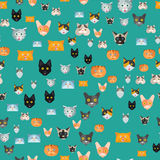 Cats vector illustration cute animal seamless pattern funny decorative kitty characters feline domestic trendy pet. Cats vector illustration cute animal funny Stock Photo