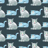 Cats vector illustration cute animal seamless pattern funny decorative kitty characters feline domestic trendy pet Stock Photo