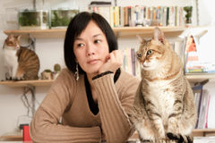 Cats and woman Royalty Free Stock Photography