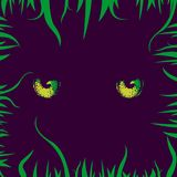 Cats Yellow Eyes and Grass. Mystical, night illustration with a magic cat eyes and grass on a violet background. Creative design in horror, darkness, Halloween Stock Images
