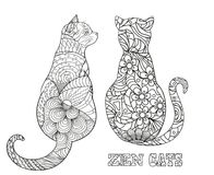 Illustration. Art creation. Cats. Zentangle. Hand drawn cat with abstract patterns on isolation background. Design for spiritual relaxation for adults.Outline Royalty Free Stock Photo