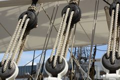 Catseyes and ropes on sailing ship Royalty Free Stock Photo