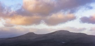 Catskill Mountain Peaks Panorama. A winter view of the Kaaterskill High Peak and Round Top mountains in the Catskill Mountains of New York State stock photography