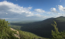Catskill Mountain View. A view from the eastern Catskill Mountains to the wide expanse of the Hudson River Valley stock image