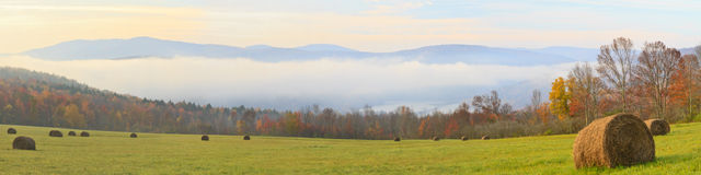 Catskills Foggy Morning Panorama Stock Images