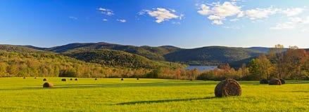 Catskills Hay Bale Panorama Stock Images
