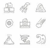 Catástrofes naturais, ícones do contorno, monocromáticos Fotos de Stock