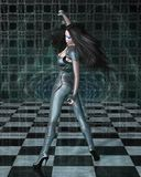 Catsuit Woman Reflections. Dark haired science fiction style woman in shiny blue catsuit and blue makeup reflected in a vortex mirror and checked floor, 3d Royalty Free Stock Photography
