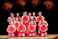 Cattail leaf fan--Folk Dance Royalty Free Stock Photos