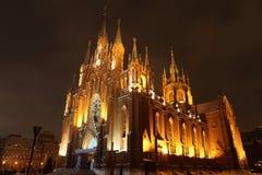 Cattedrale cattolica. Inverno. Notte. Immagini Stock