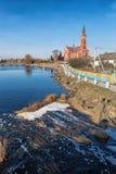 Cattedrale cattolica sulla città di Pastavy Fotografie Stock Libere da Diritti