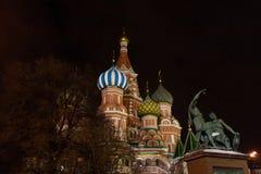 Cattedrale del di Vasily benedetto di notte Fotografia Stock Libera da Diritti
