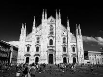 Cattedrale del Duomo di Milano, Italia Vista frontale fotografia stock