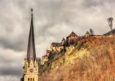 Cattedrale del fiorino della st e del castello di Vaduz Fotografie Stock Libere da Diritti