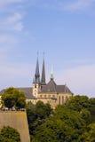 Cattedrale del Notre Dame a Lussemburgo con circondare Fotografia Stock Libera da Diritti