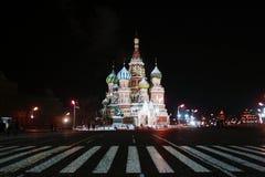 Cattedrale del ` s del basilico del san alla notte Fotografia Stock Libera da Diritti