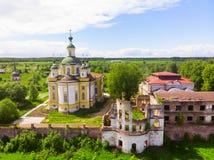Cattedrale dell'ascensione del signore Monastero di Spaso-Sumorin Totma La Russia La Russia Vista da sopra fotografia stock libera da diritti