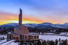 Cattedrale dell'aurora boreale al tramonto Immagini Stock Libere da Diritti