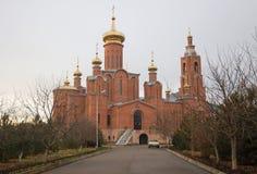 Cattedrale dell'intercessione in città Mineralnye Vody Fotografia Stock Libera da Diritti