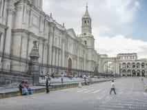 Cattedrale della città di Arequipa nel Perù Fotografia Stock Libera da Diritti