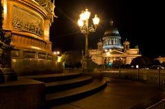 Cattedrale della st Isaac alla notte Immagini Stock Libere da Diritti