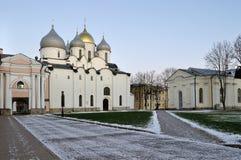 Cattedrale della st Sophia in Veliky Novgorod, Russia - paesaggio di sera fotografie stock