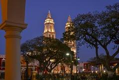 Cattedrale della torre gemella alla notte fotografie stock libere da diritti