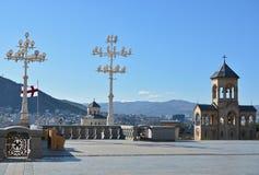 Cattedrale della trinità santa di Tbilisi (Tsminda Sameba) Immagini Stock Libere da Diritti