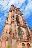 Cattedrale dentellare a Strasburgo fotografia stock libera da diritti