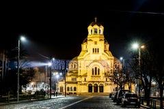 Cattedrale di Alexander Nevsky a Sofia, Bulgaria di notte Fotografie Stock Libere da Diritti