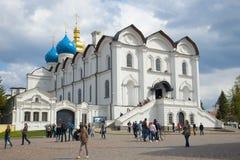 Cattedrale di annuncio del giorno di aprile della nuvola del primo piano di Cremlino di Kazan Fotografia Stock